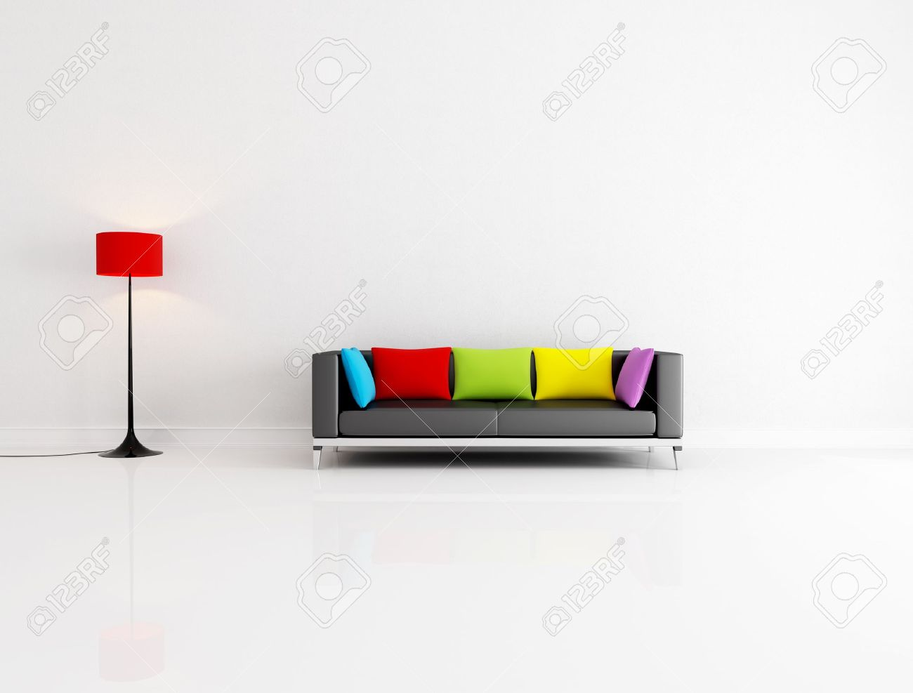 white minimalist living room with black couch with colored cushion - rendering Stock Photo - 6998703