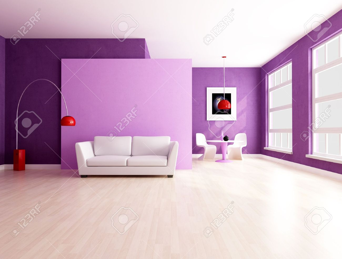 purple and lilla living room with dining space - rendering stock ... - Soggiorno Lilla