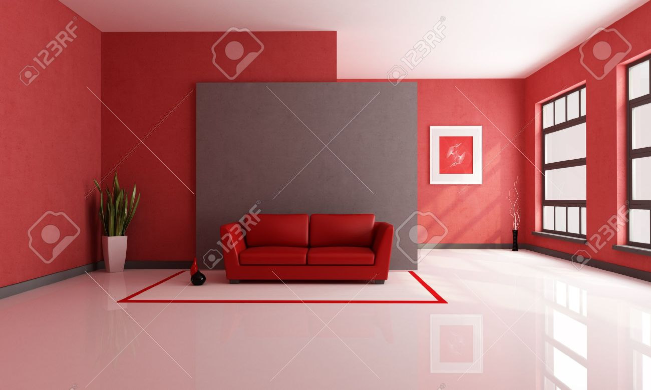 Red And Brown Minimalist Living Room