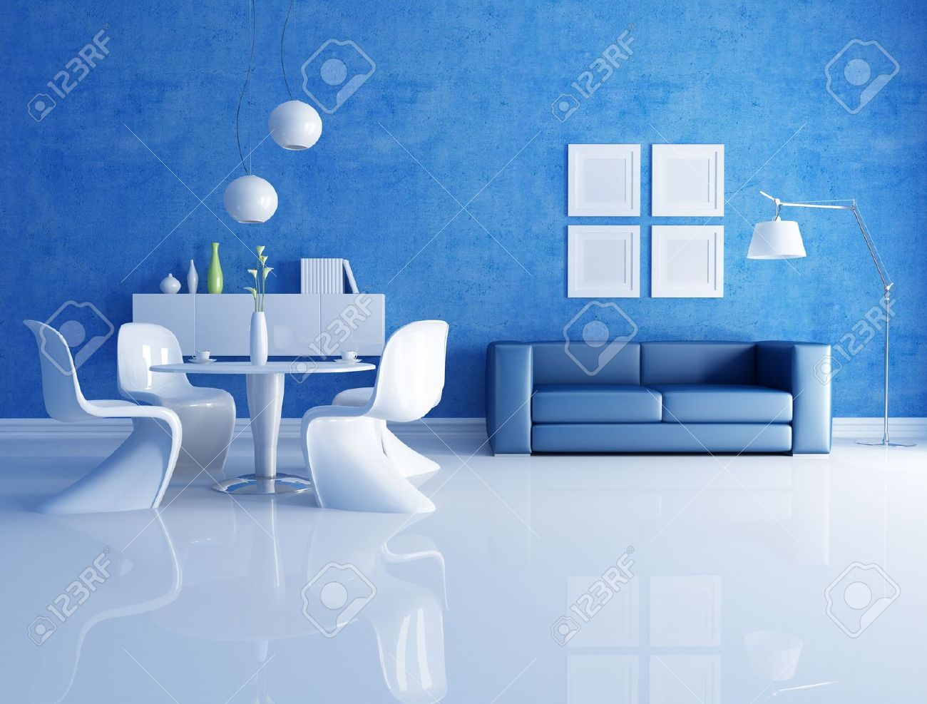 modern  dining room  with blue sofa - rendering Stock Photo - 7209635