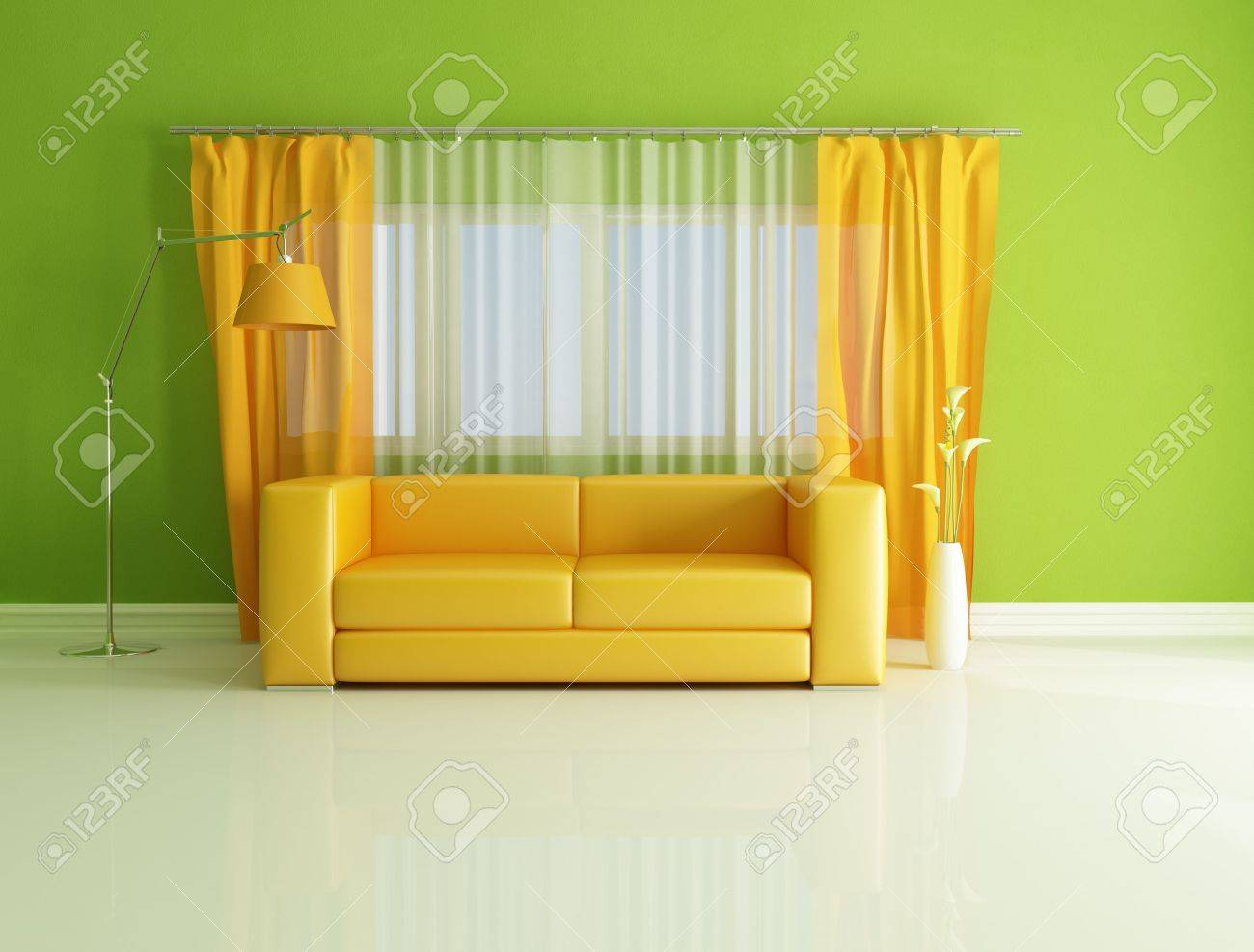 Minimalist Green And Orange Living Room   Rendering Stock Photo   7209636 Part 47