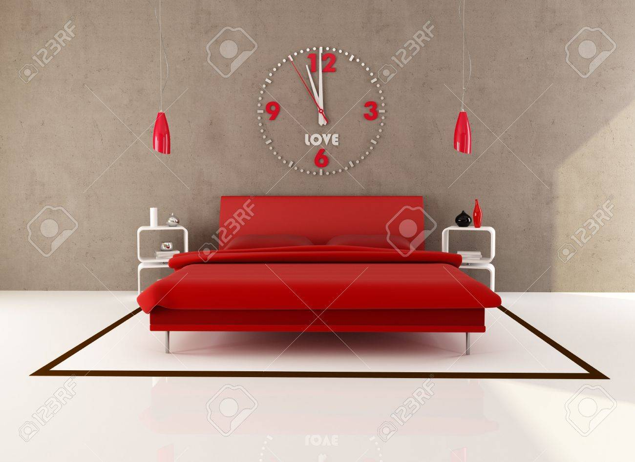 red bedroom with big clock on wall rendering stock photo red bedroom with big clock on wall rendering stock photo 7209634