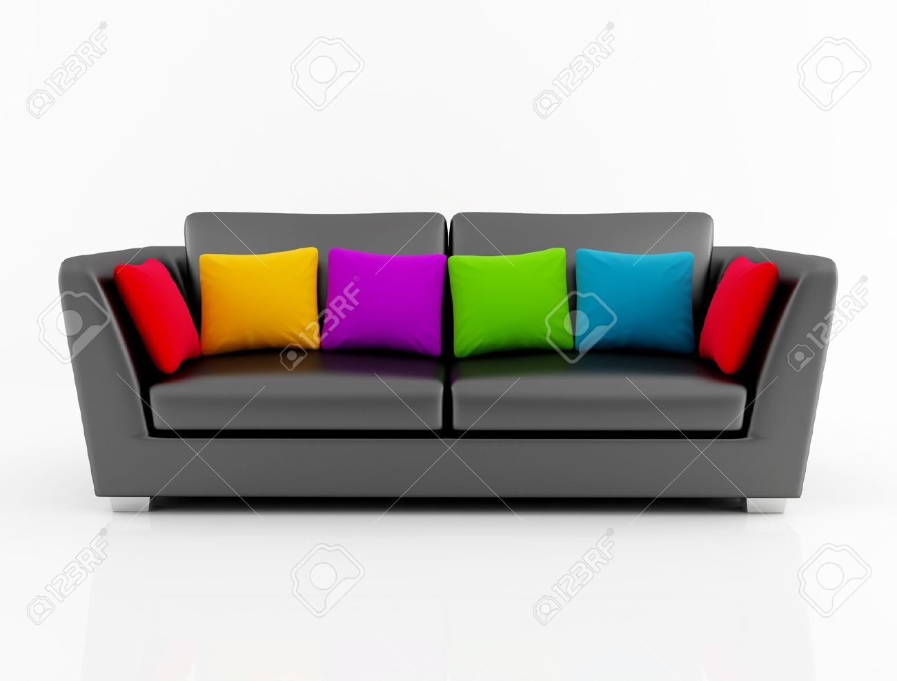 Black Leather Couch With Colored Cushion Rendering Stock Photo