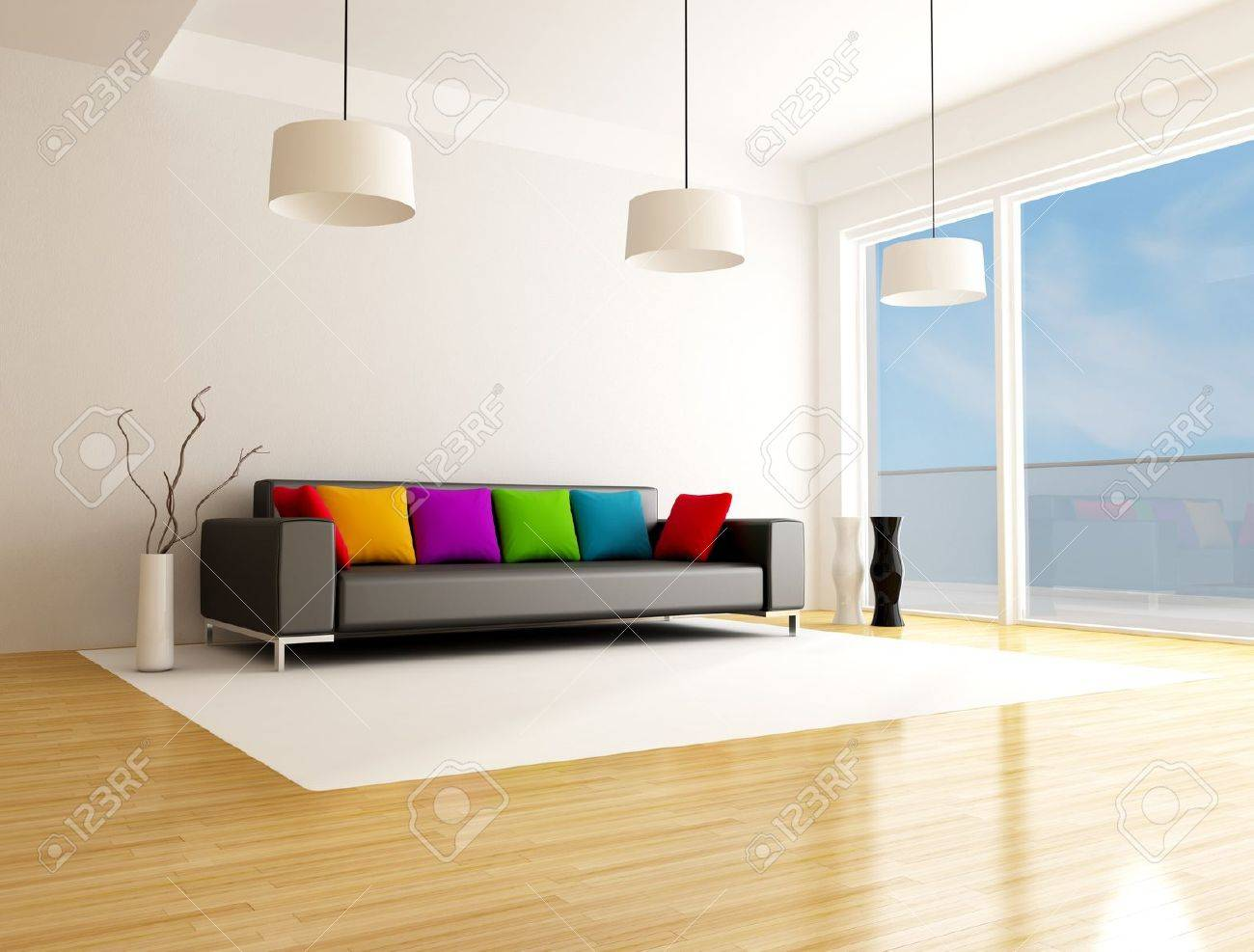 black sofa with colored cushion in a minimalist lounge Stock Photo - 7305325