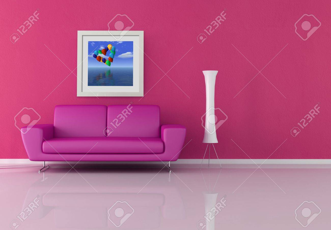 pink and purple lounge - rendering the art picture on wall is a my rendering composition Stock Photo - 7416414
