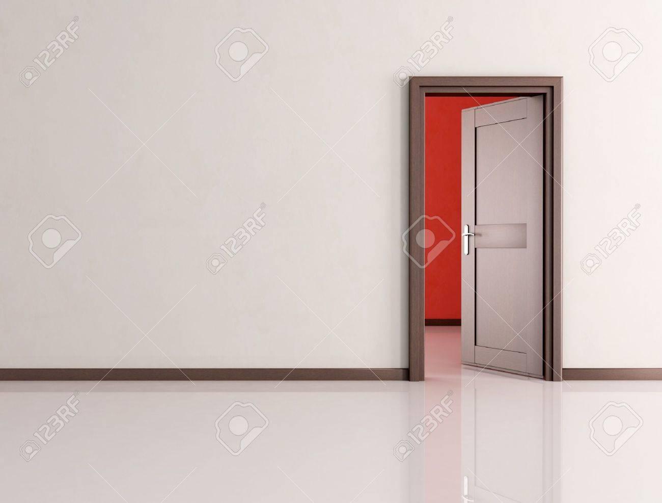 Blanc chambre vide avec open en bois porte   rendu banque d'images ...