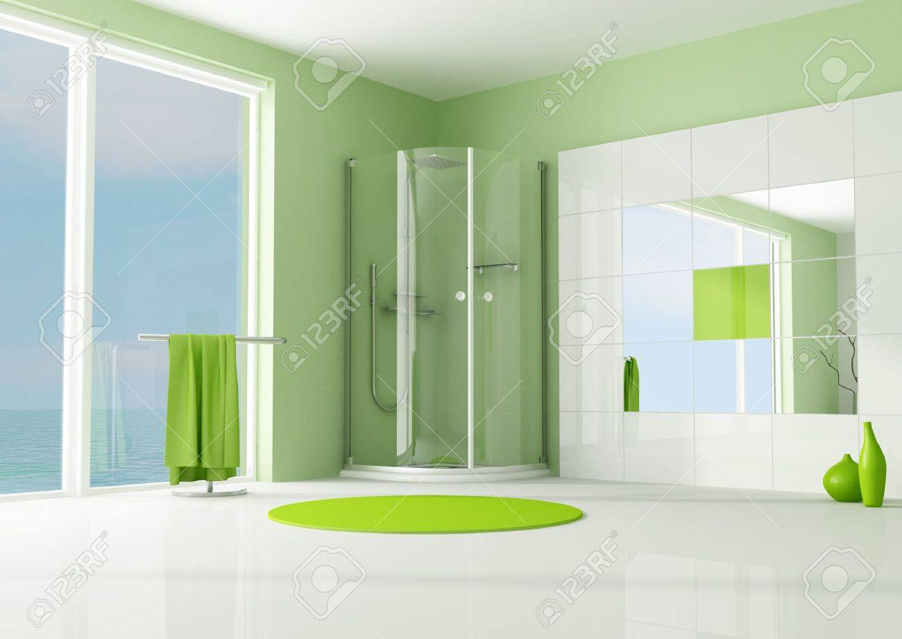green modern bathroom with cabin shower - rendering Stock Photo - 7514342