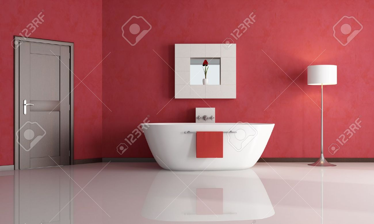 elegant minimalist red bathroom - rendering Stock Photo - 7514343