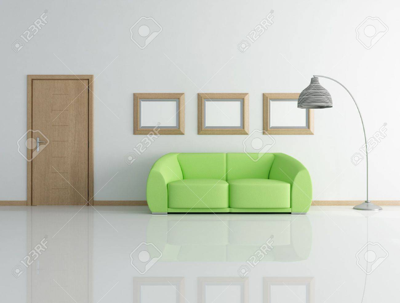 green couch in a modern interior with wooden door - rendering Stock Photo - 7591098