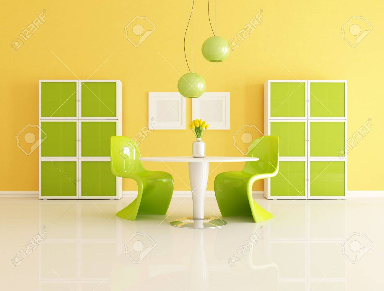 Bright Contemporary Orange And Green Living Room   Rendering Stock Photo    7728934 Part 97