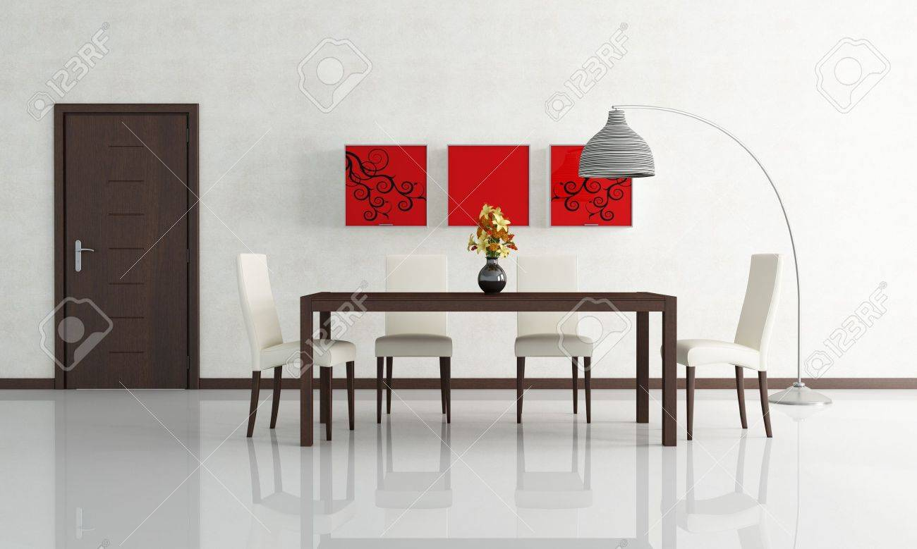 Contemporary Dining Room With Wooden Door