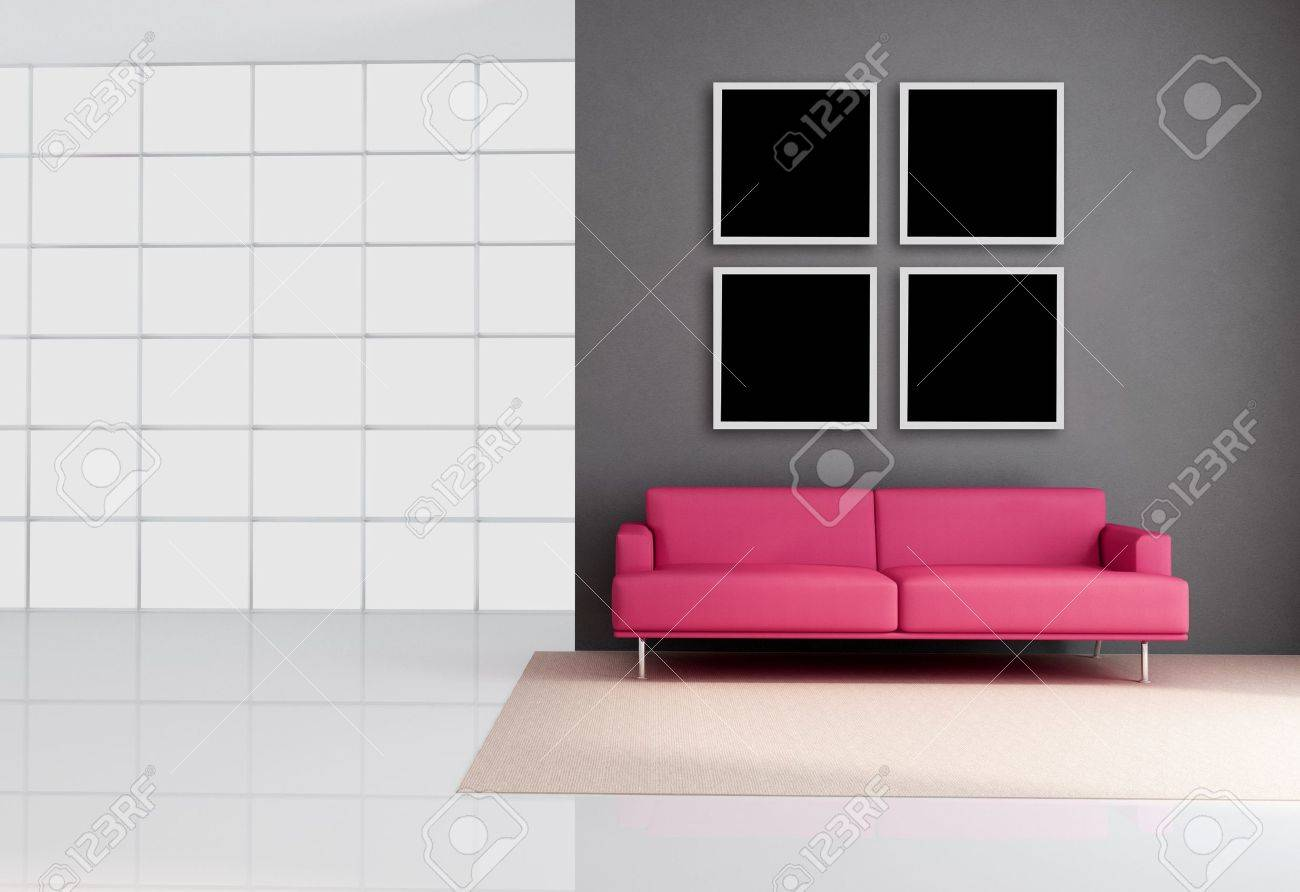 empty living room with leather pink couch - rendering Stock Photo - 7728946