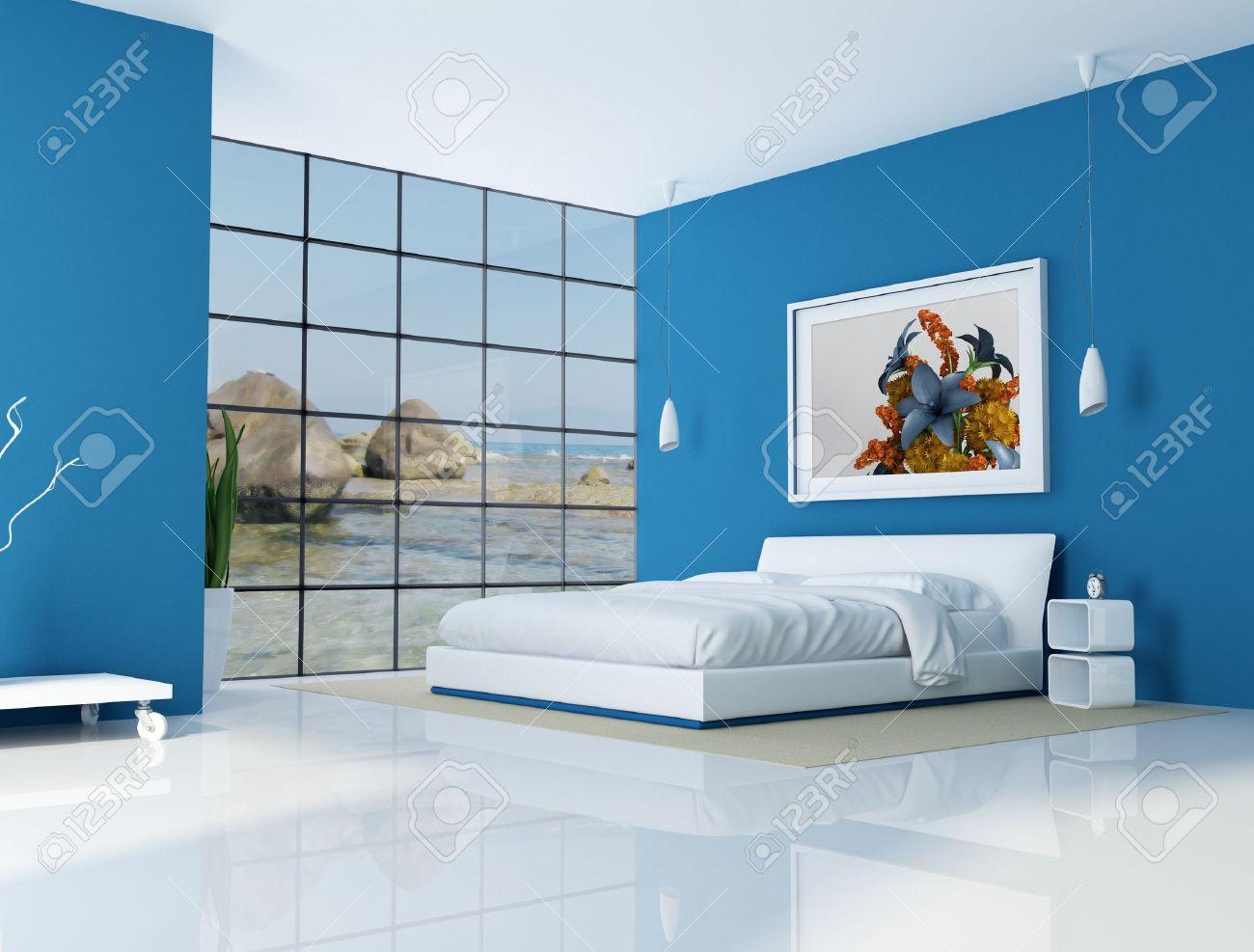 blau schlafzimmer strand villa - rendering - das kunst-bild auf, Wohnzimmer dekoo