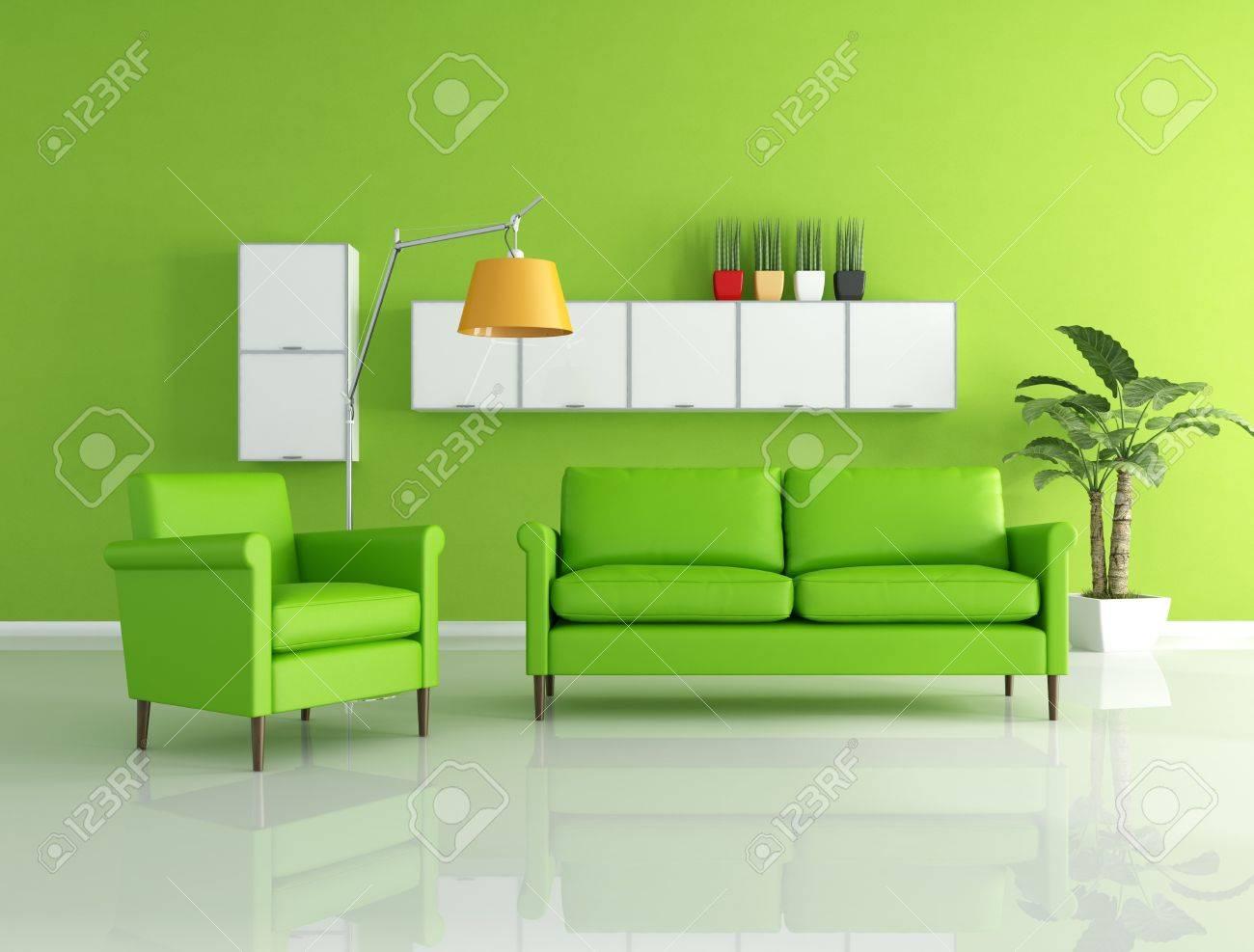 Groene bank en fauteuil in een moderne woonkamer royalty vrije ...