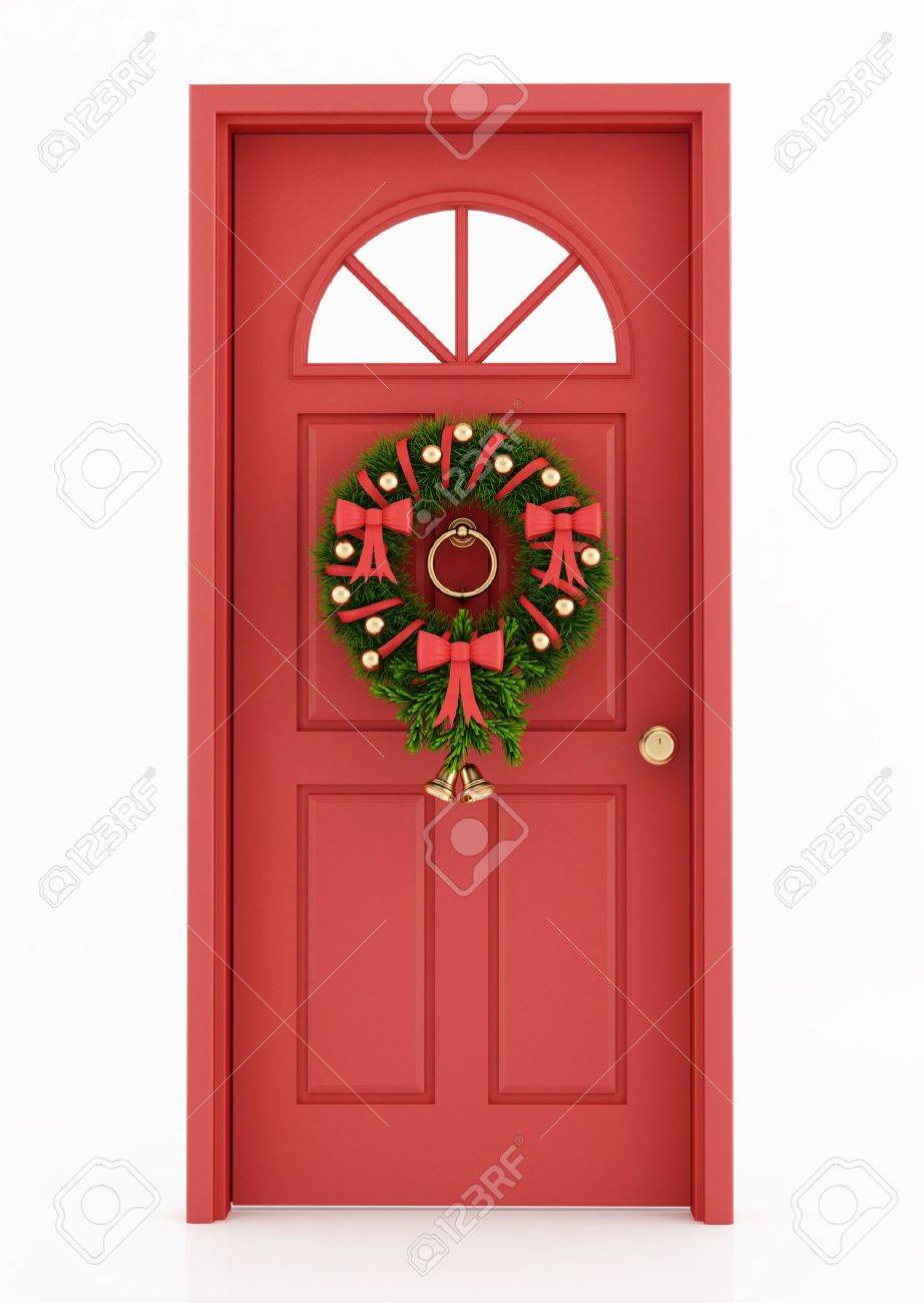 Red Door With Christmas Wreath Isolated On White Rendering Stock