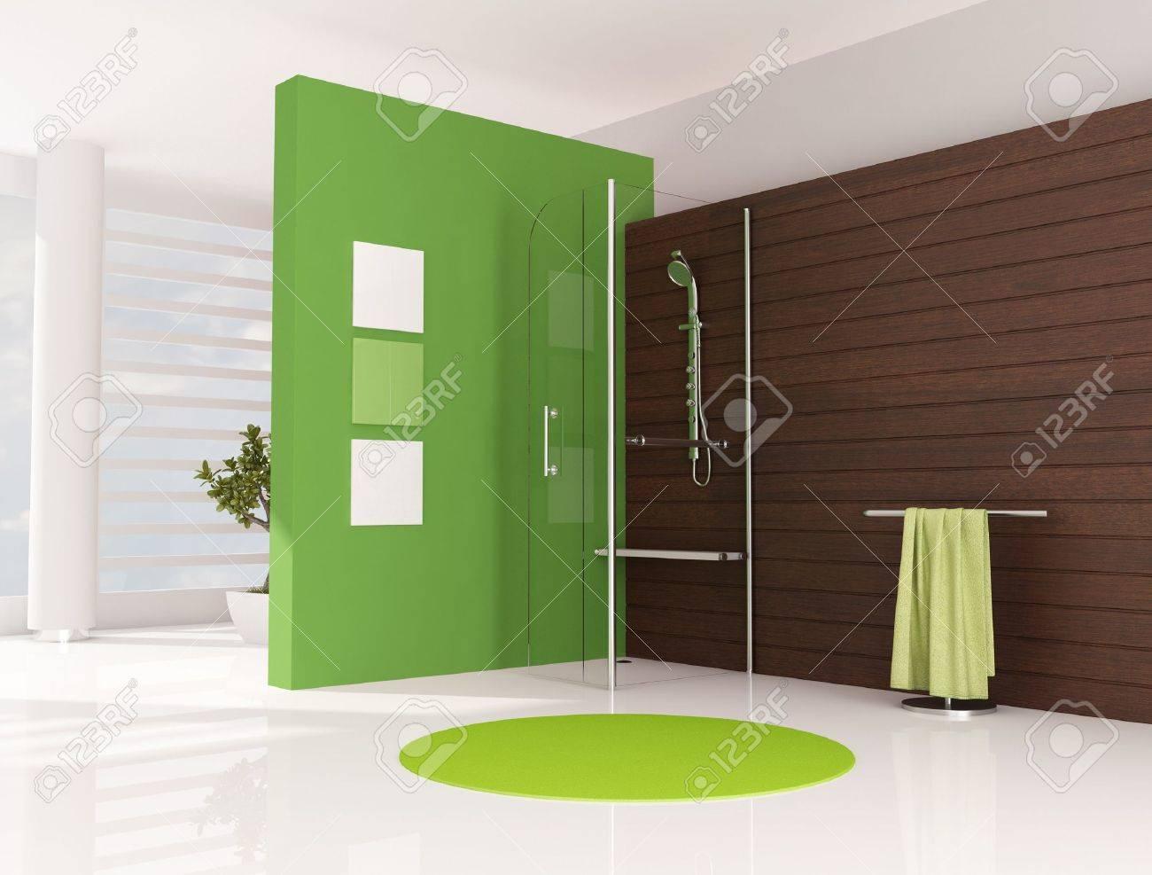 Vert salle de bains avec douche cabine et le panneau en bois ...
