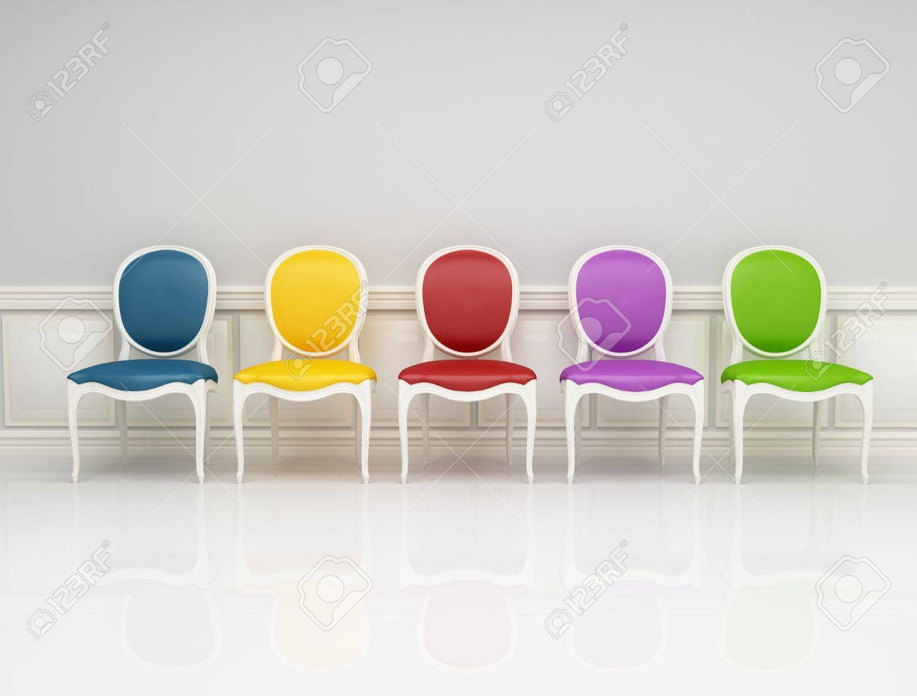 colored classic chair in white and gray interior Stock Photo - 7842698