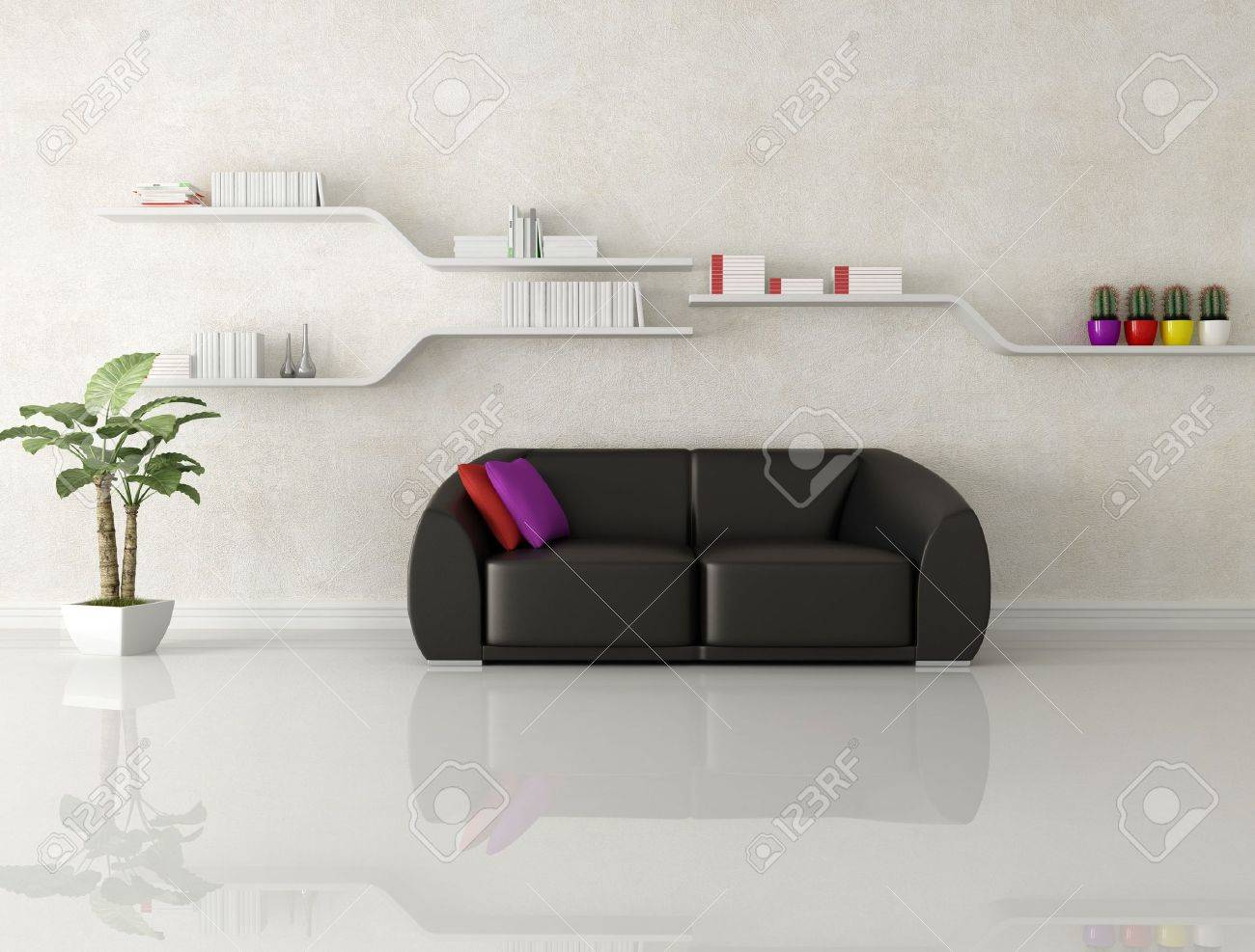 stock photo black leather sofa in a white modern living room rendering - White Modern Living Room