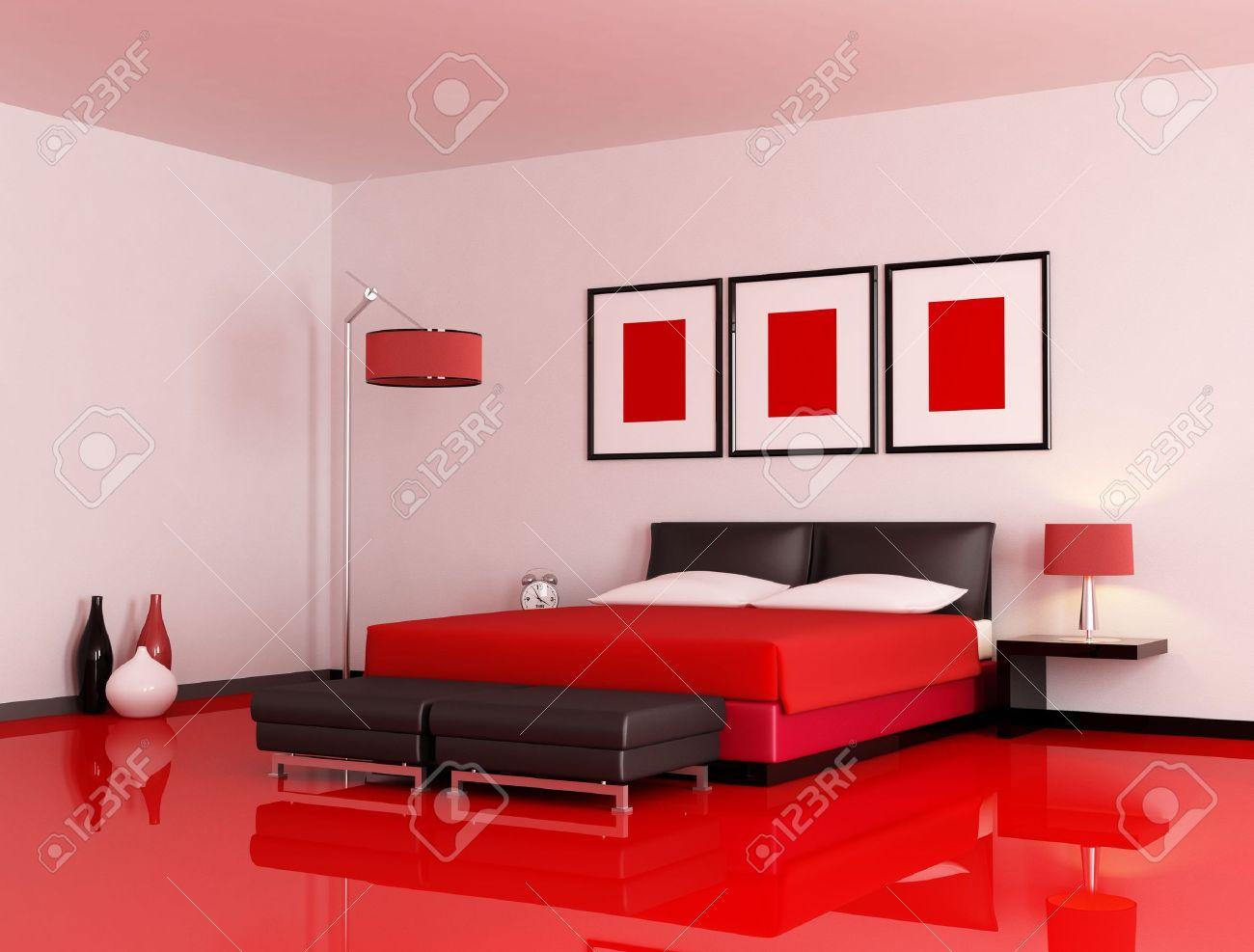 moderne slaap kamer met rode vloer en witte muur  rendering, Meubels Ideeën