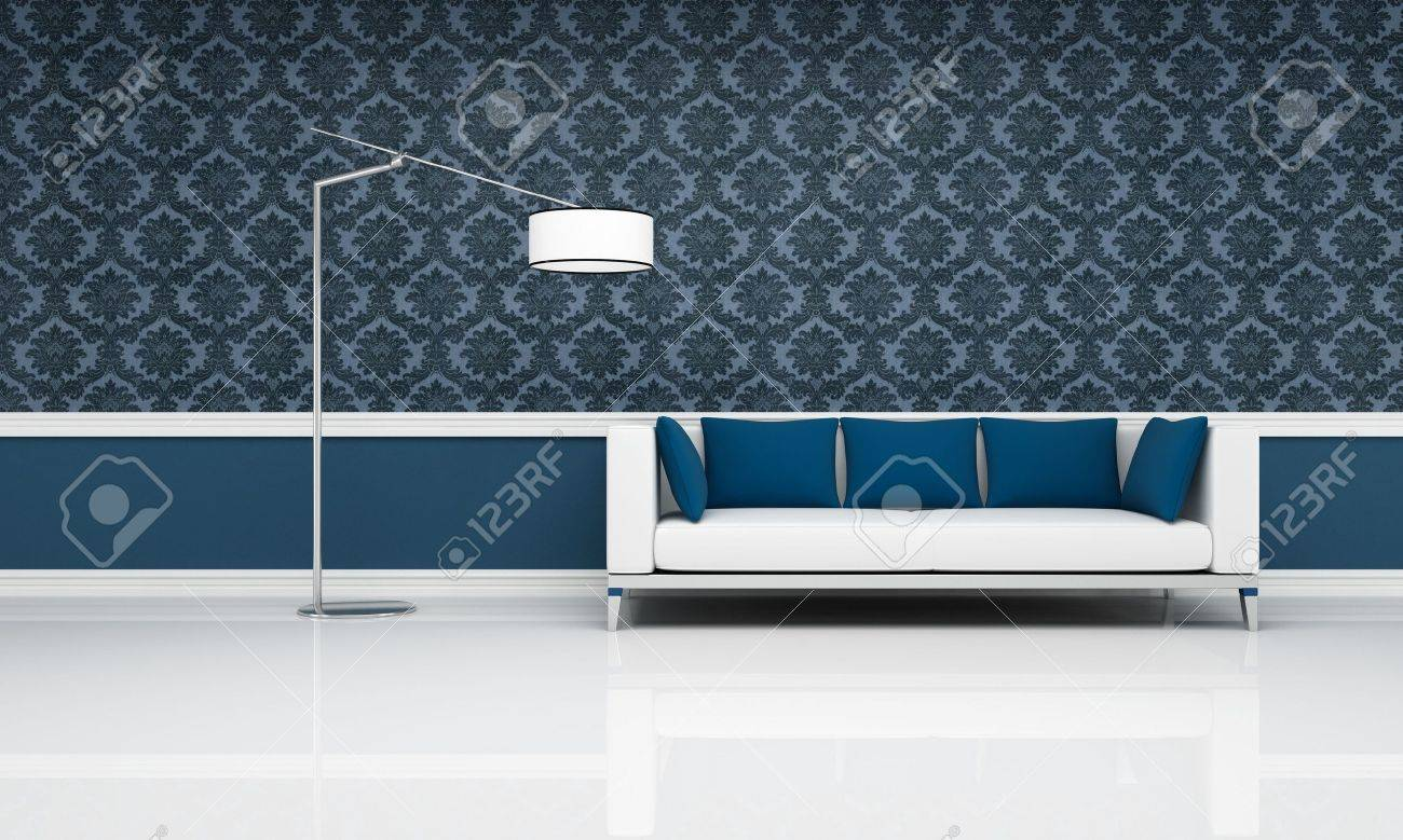white couch with blue pillow against blue damask  wallpaper - rendering Stock Photo - 7946198