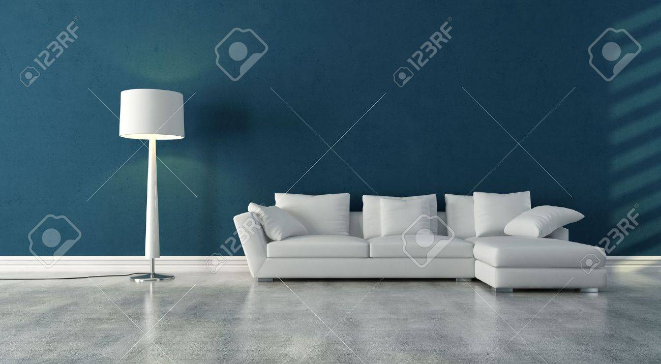 elegant modern white couch in a blue interior with concrete floor - rendering Stock Photo - 8064771