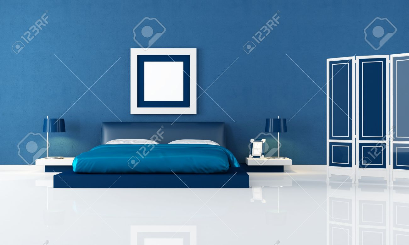 Awesome Contemporary Blue Bedroom With Modern Double Bed And Blue Screen    Rendering Stock Photo   8064767