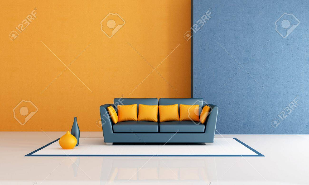 modern sofa with pillow in a minimalist blue and orange living..