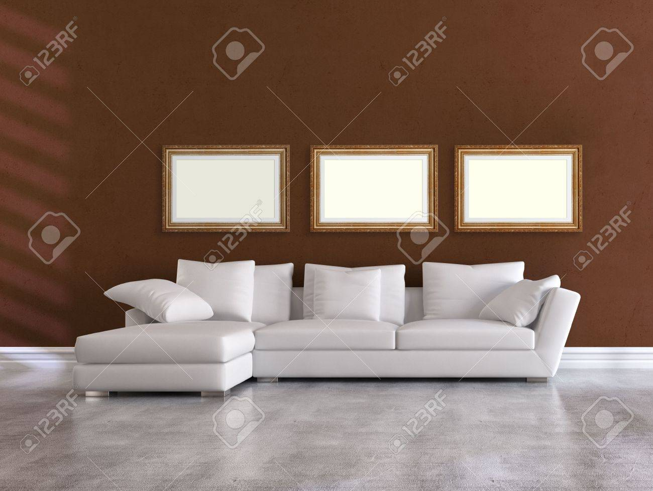 white elegant couch in a minimalist brown living room - rendering Stock Photo - 8064772