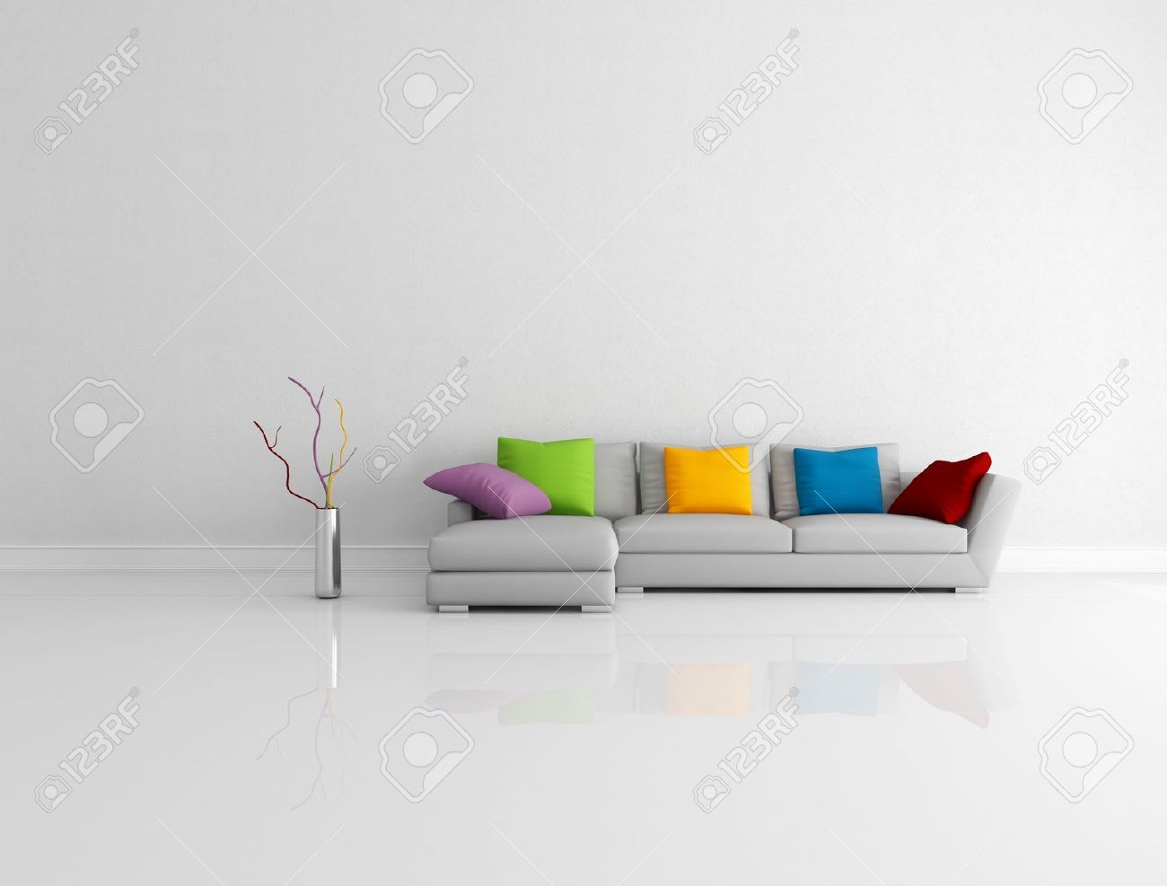 Gray Modern Couch With Colored Pillow In A Bright Empty Living Room