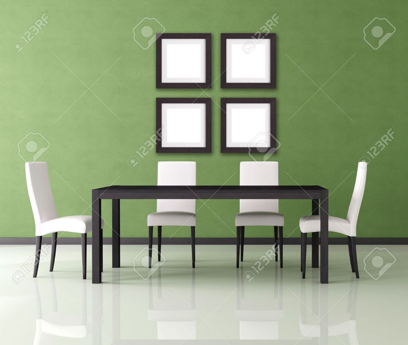 Modern dining room green - Green Modern Empty Dining Room Rendering Stock Photo 8064770