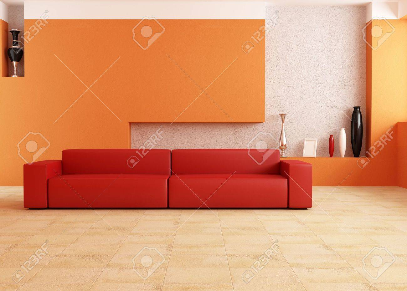 Modern Red Sofa In A Orange Living Room Stock Photo Picture And