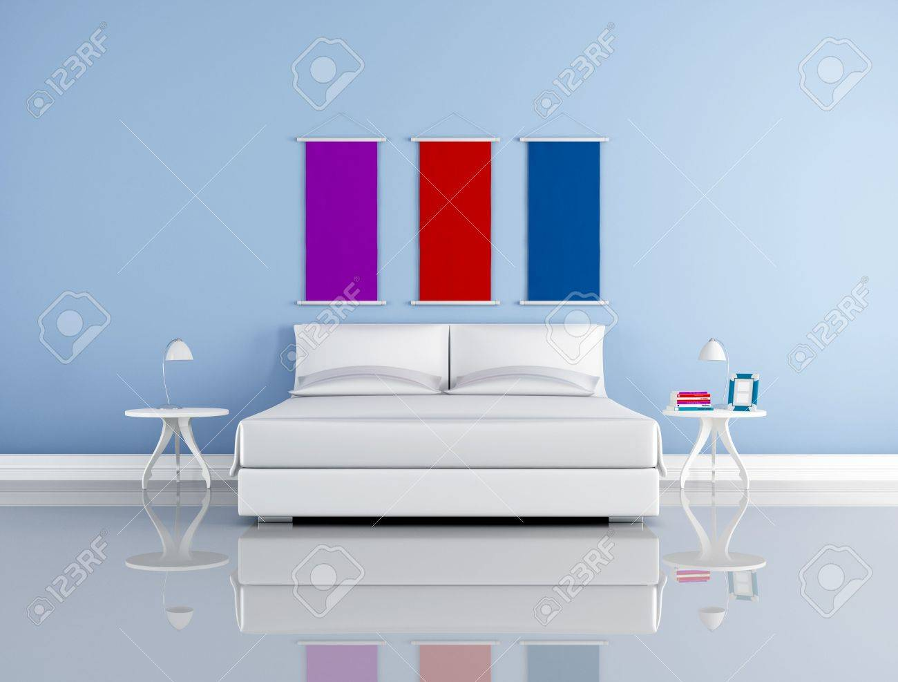 minimalist blue bedroom with simple white double bed bedroom-rendering Stock Photo - 8064779