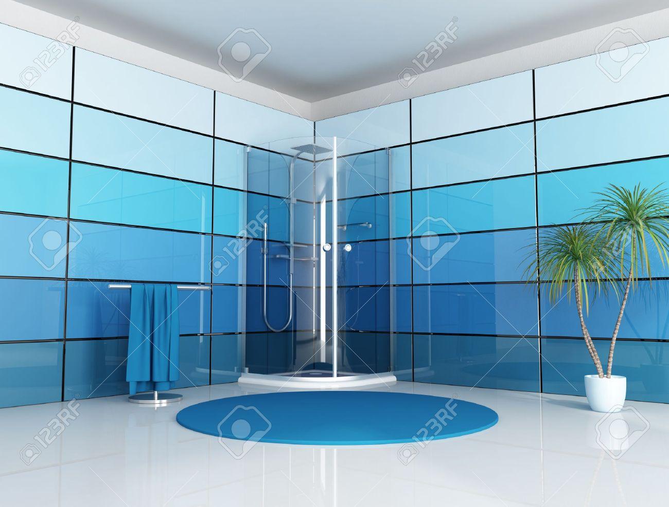salle douche moderne salle de bain moderne avec cabine douche et panneau bleu rendu - Salle De Bain Douche Moderne