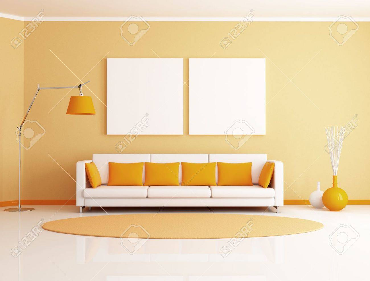 orange and white minimalist living room - rendering stock photo