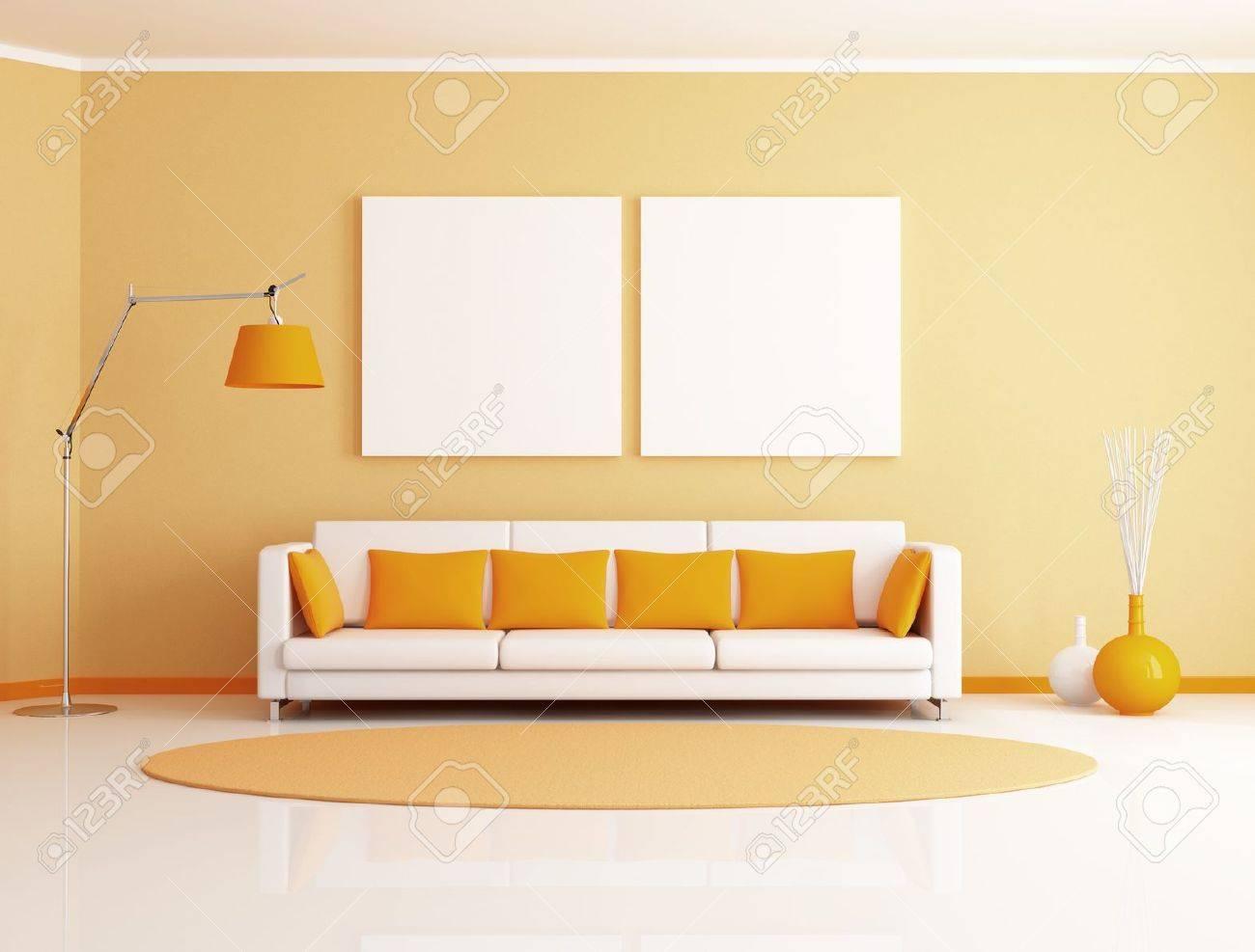 Oranje en witte minimalistische woonkamer   weergave royalty vrije ...