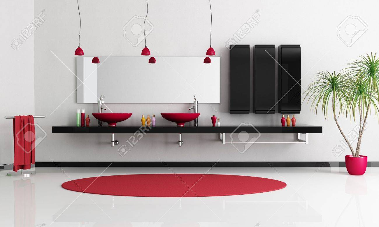 two modern red sink in a minimalist black and white bathroom rendering stock photo - Red And White Bathroom