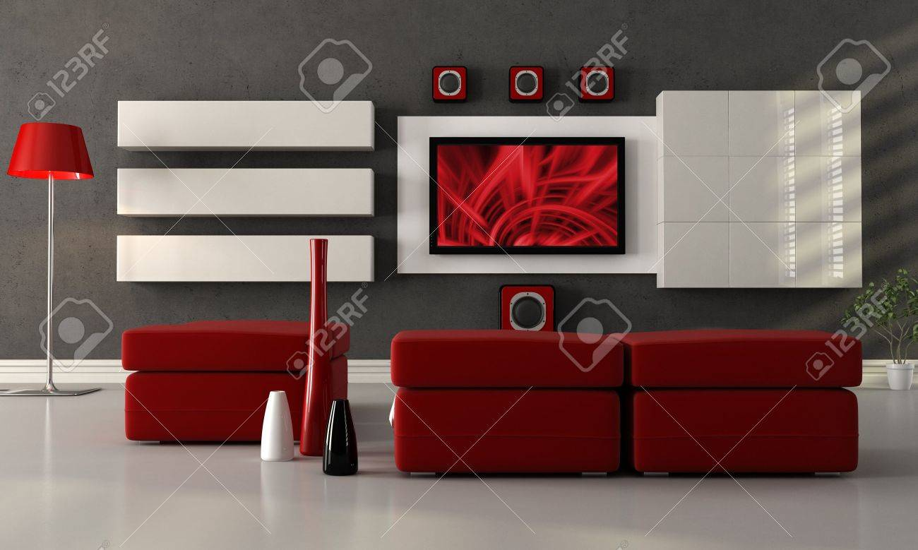 Modern Living Room Home Theater modern living room with home theater system - the image on screen