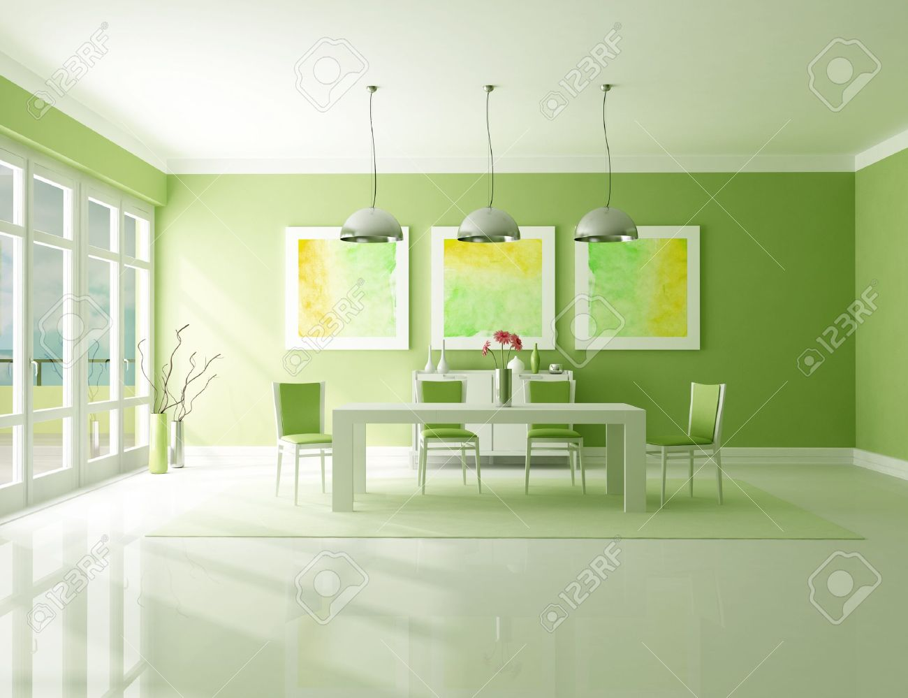 Green Dining Room Minimalist Green Dining Room  The Art Picture On Wall Are My