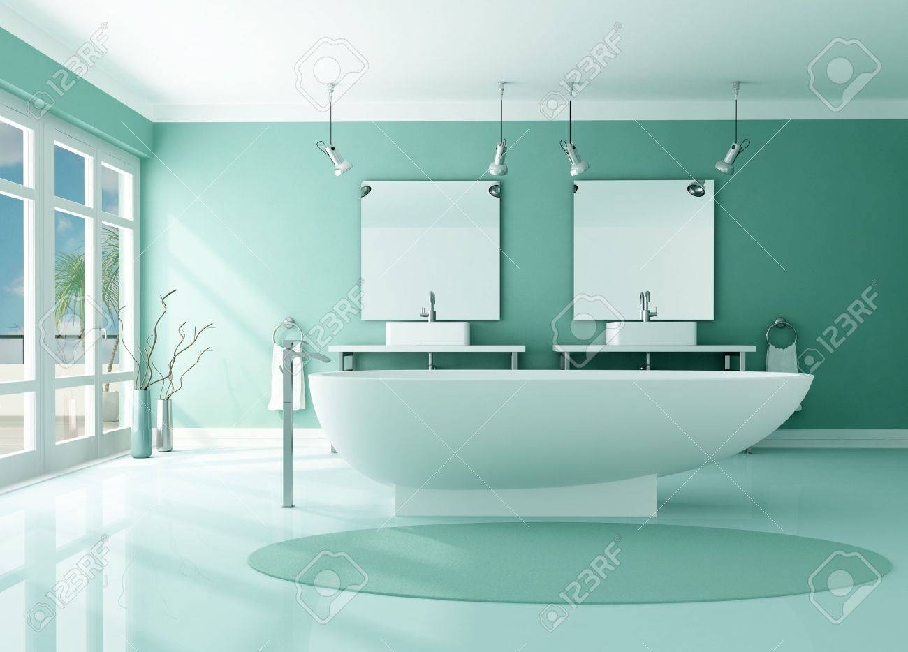 luxury modern bathroom with fashion bathtub and double sink -rendering Stock Photo - 8476096