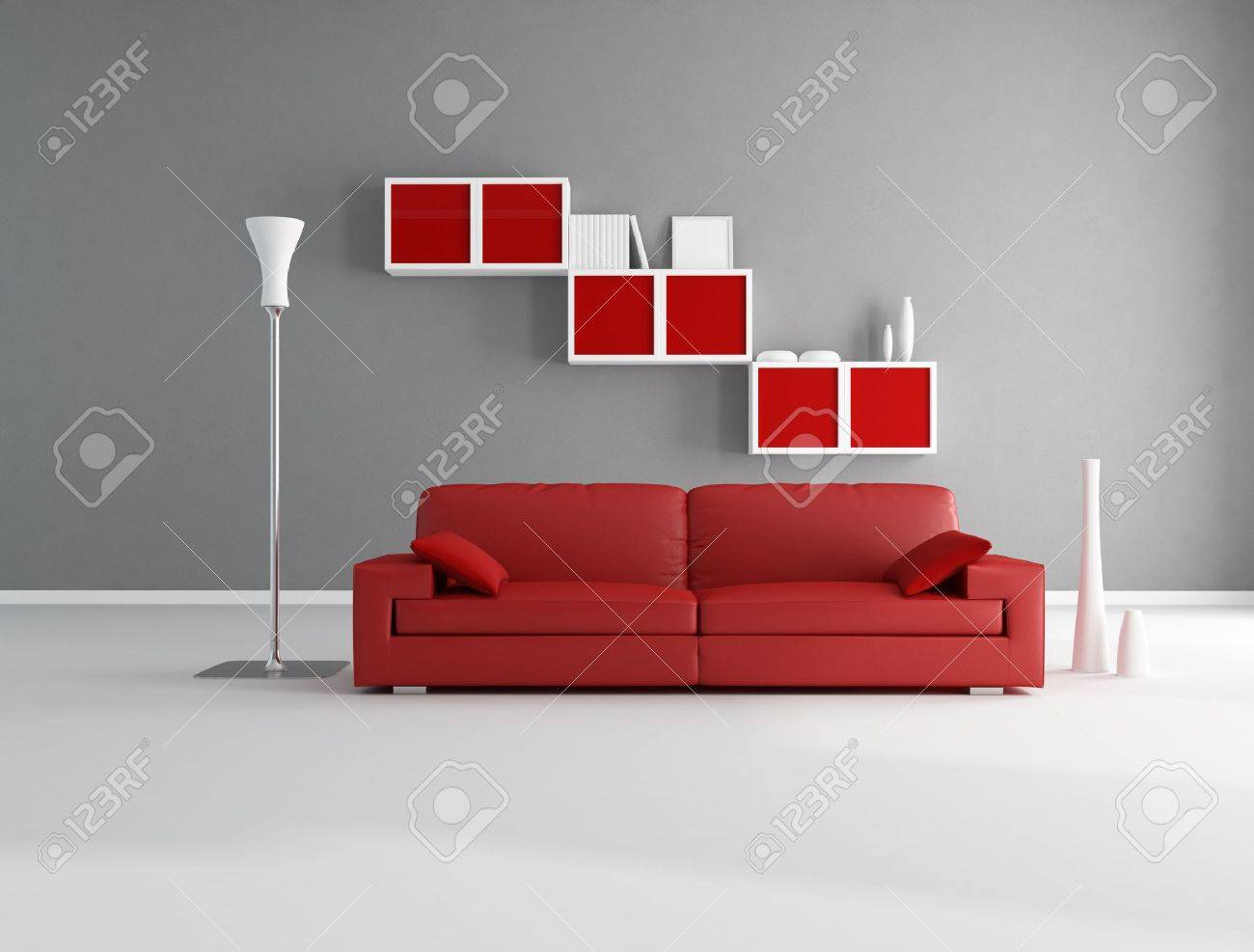 Red And Gray Living Room Red And Gray Minimalist Living Room Rendering Stock Photo
