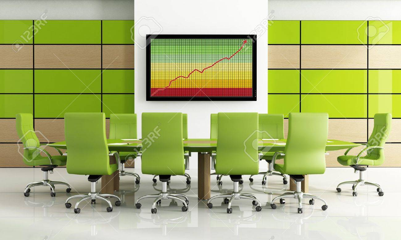 Modern Furniture Kitchener Contemporary Bright Green Meeting Room Rendering Stock Photo