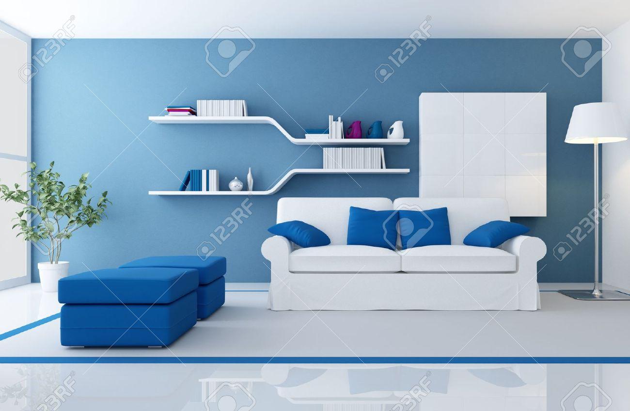 divano bianco in una vita moderna blu stanza - rendering foto ... - Soggiorno Bianco E Blu