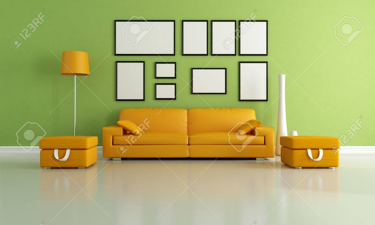 Orange modern living room - Stock Photo Modern Living Room With Orange Couch And Two Ottoman Rendering