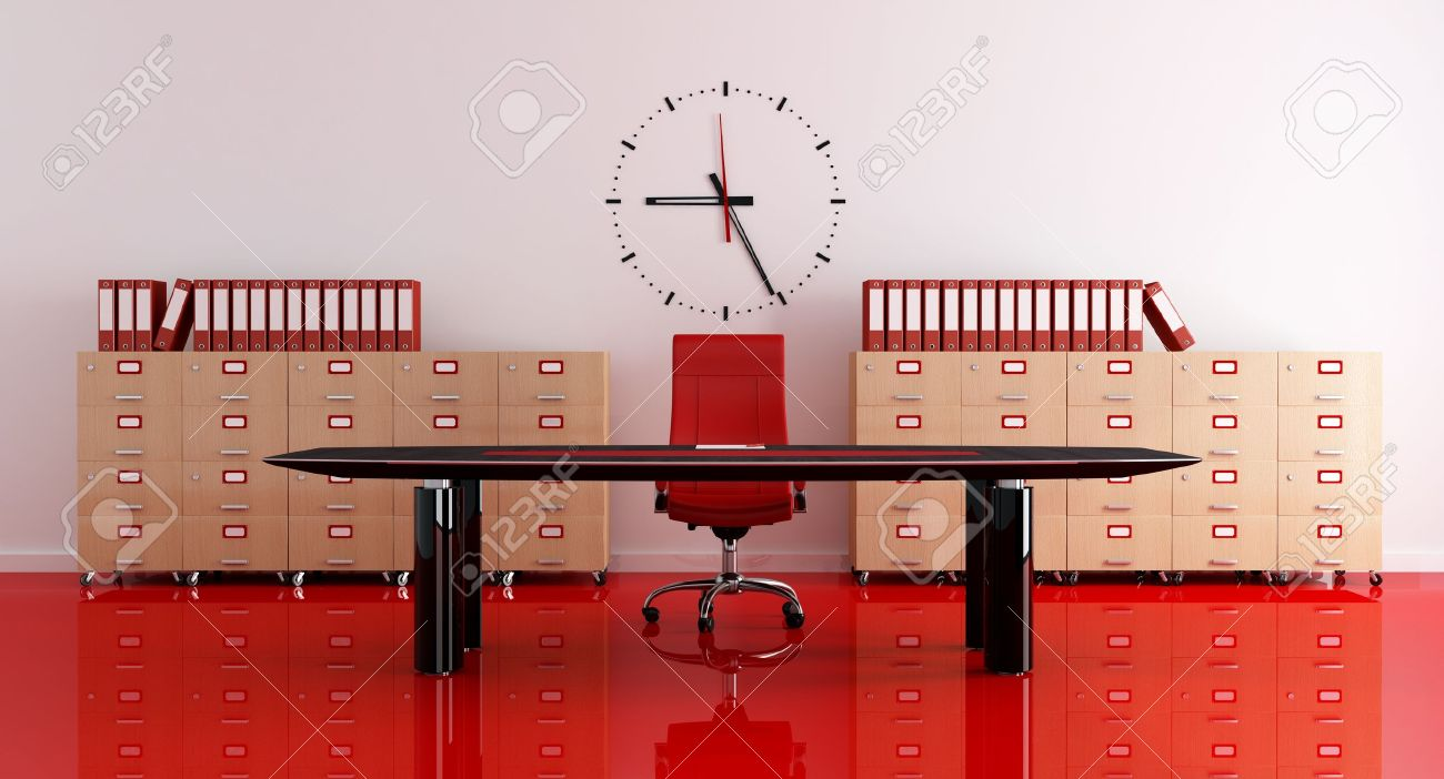 Red And Black Modern Office - Rendering Stock Photo, Picture And ...