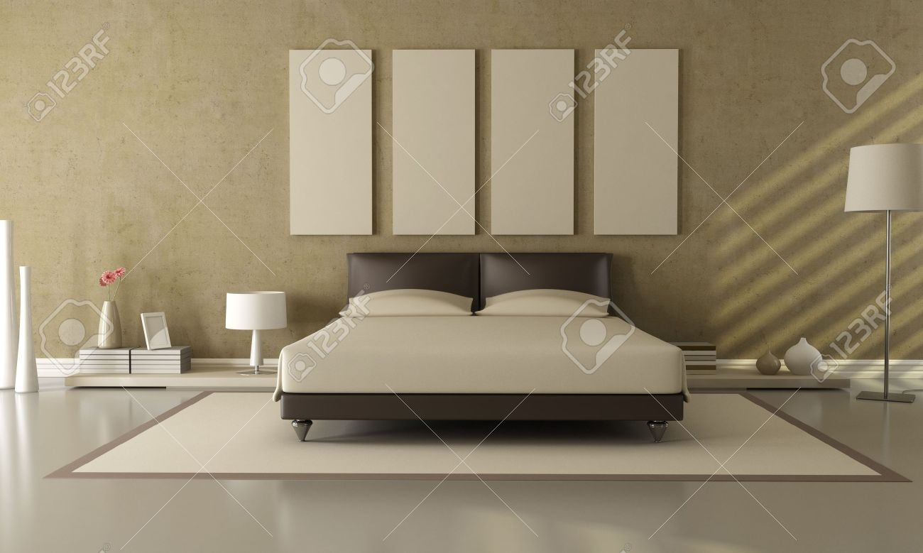 elegant modern brown and beige bedroom stock photo, picture and