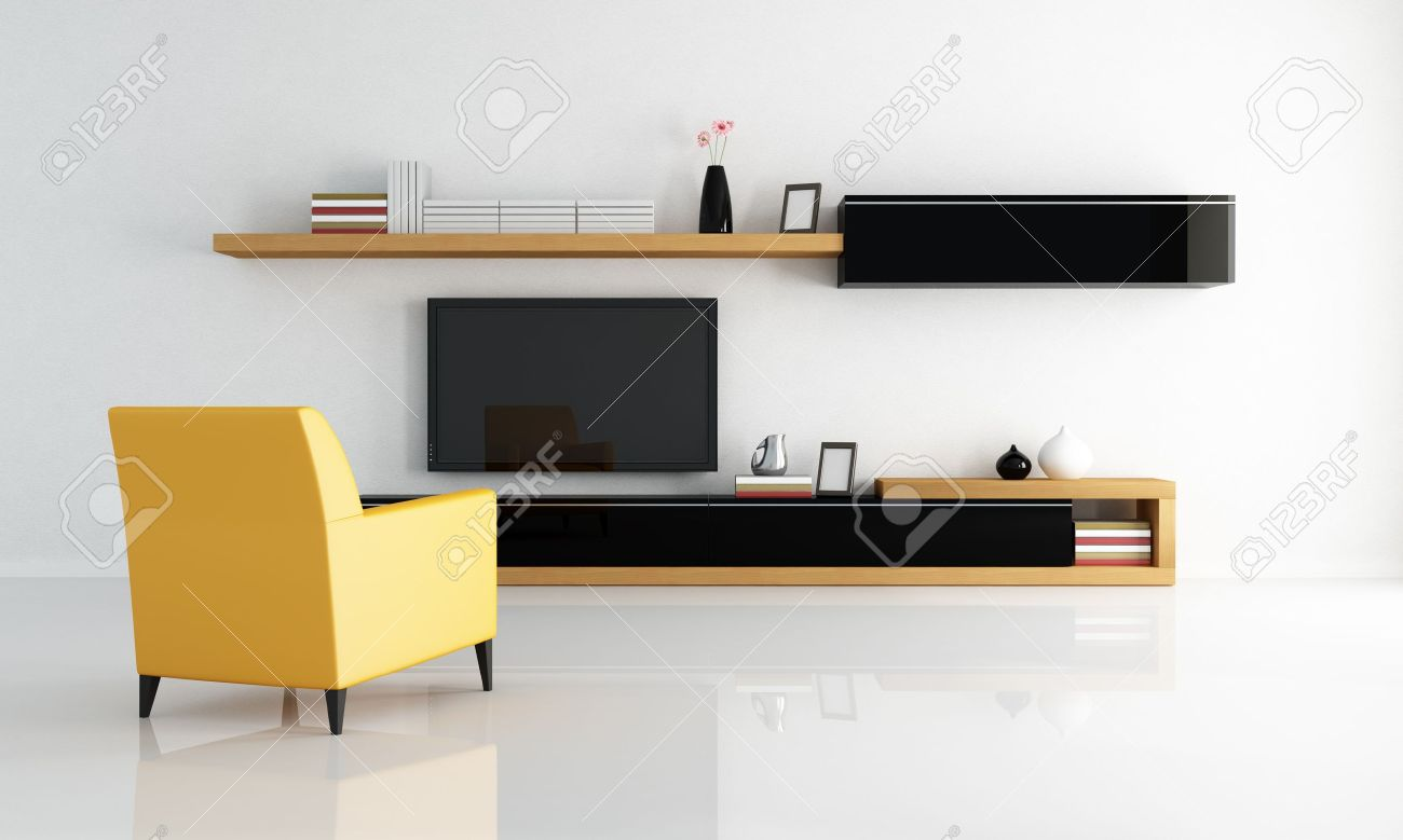 Yellow Armchair In A Minimalist Living Room With Flat Tv