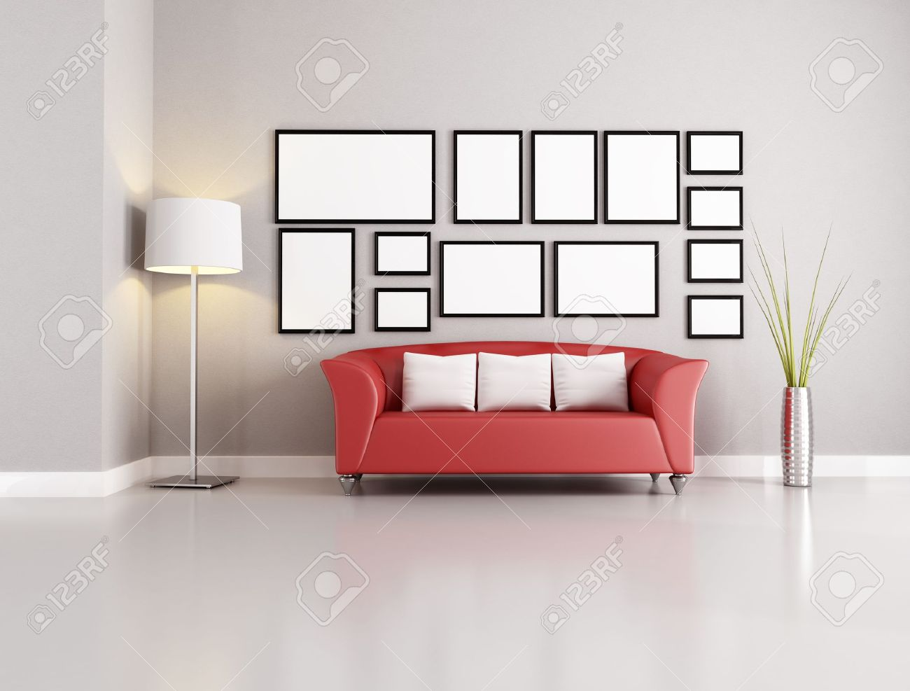 Red Sofa In Modern Living Room With Empty Frames Stock Photo