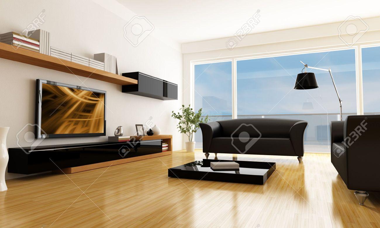 Zwart wit woonkamer met lcd tv kunst op scherm is een mijn ...