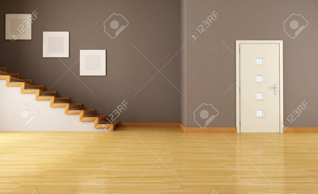 Doors wood doors 0152 01 preview jpg - Stock Photo Empty Brown Interior With Door And Wooden Staircase Rendering