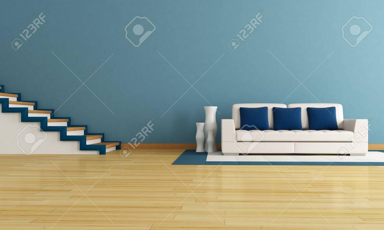 Blau Wohnzimmer Mit Treppe Und Modernen Weißen Couch Lizenzfreie ...